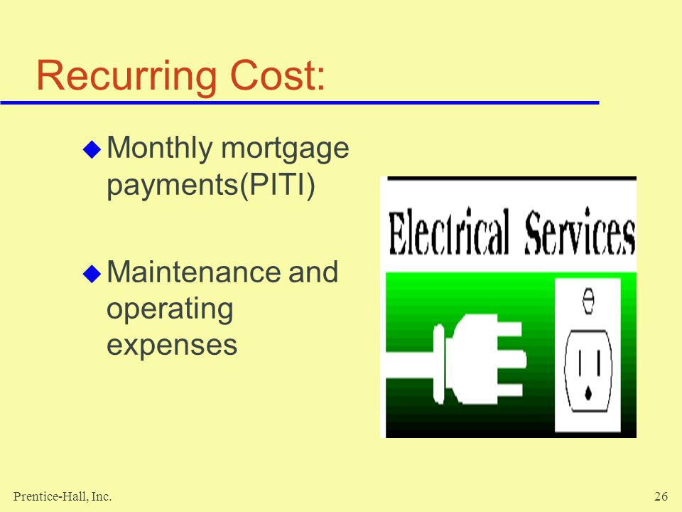 Prentice-Hall, Inc.26 Recurring Cost: Monthly mortgage payments(PITI) Maintenance and operating expenses