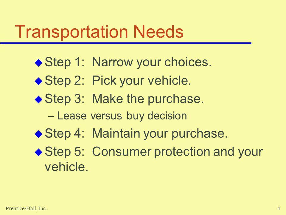 Prentice-Hall, Inc.4 Transportation Needs Step 1: Narrow your choices.