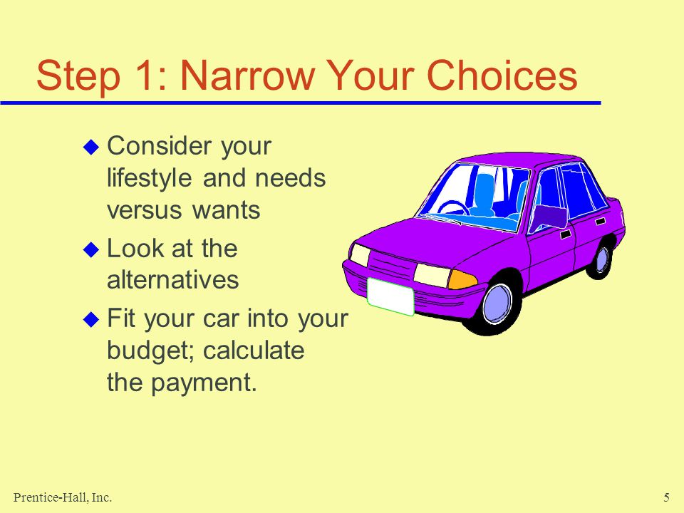 Prentice-Hall, Inc.5 Step 1: Narrow Your Choices Consider your lifestyle and needs versus wants Look at the alternatives Fit your car into your budget; calculate the payment.