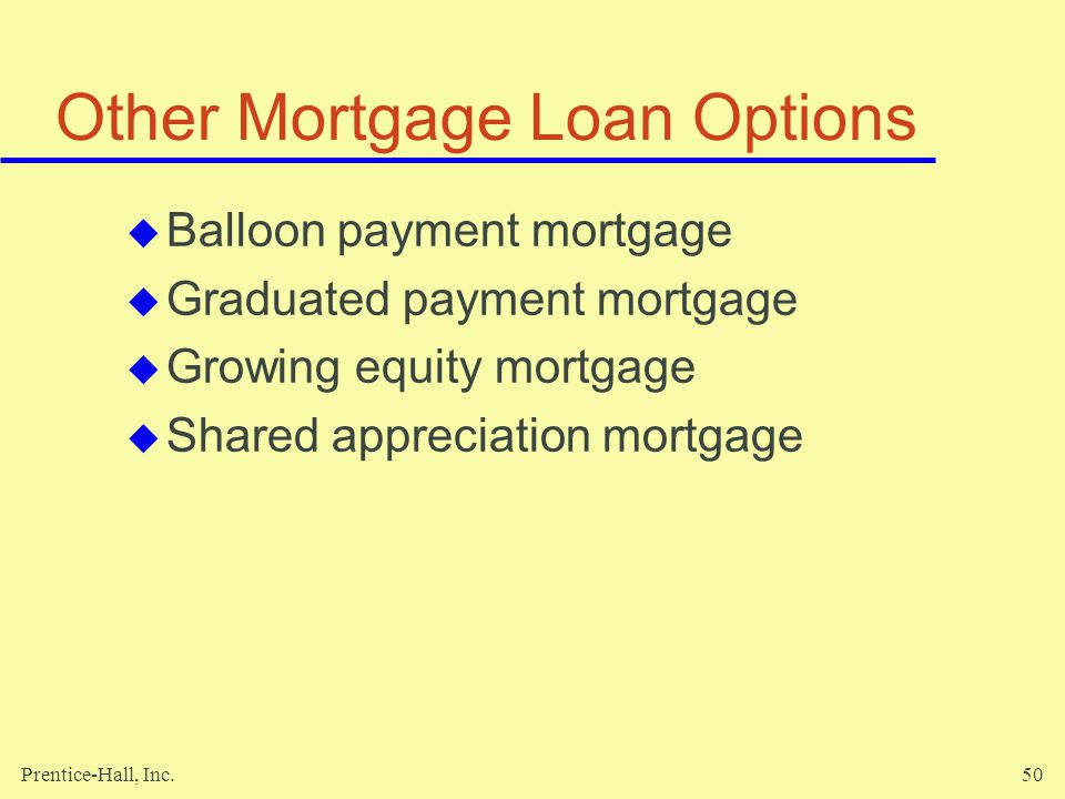 Prentice-Hall, Inc.50 Other Mortgage Loan Options Balloon payment mortgage Graduated payment mortgage Growing equity mortgage Shared appreciation mortgage