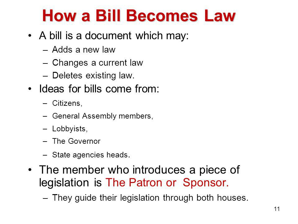 How a Bill Becomes Law A bill is a document which may: –Adds a new law –Changes a current law –Deletes existing law.