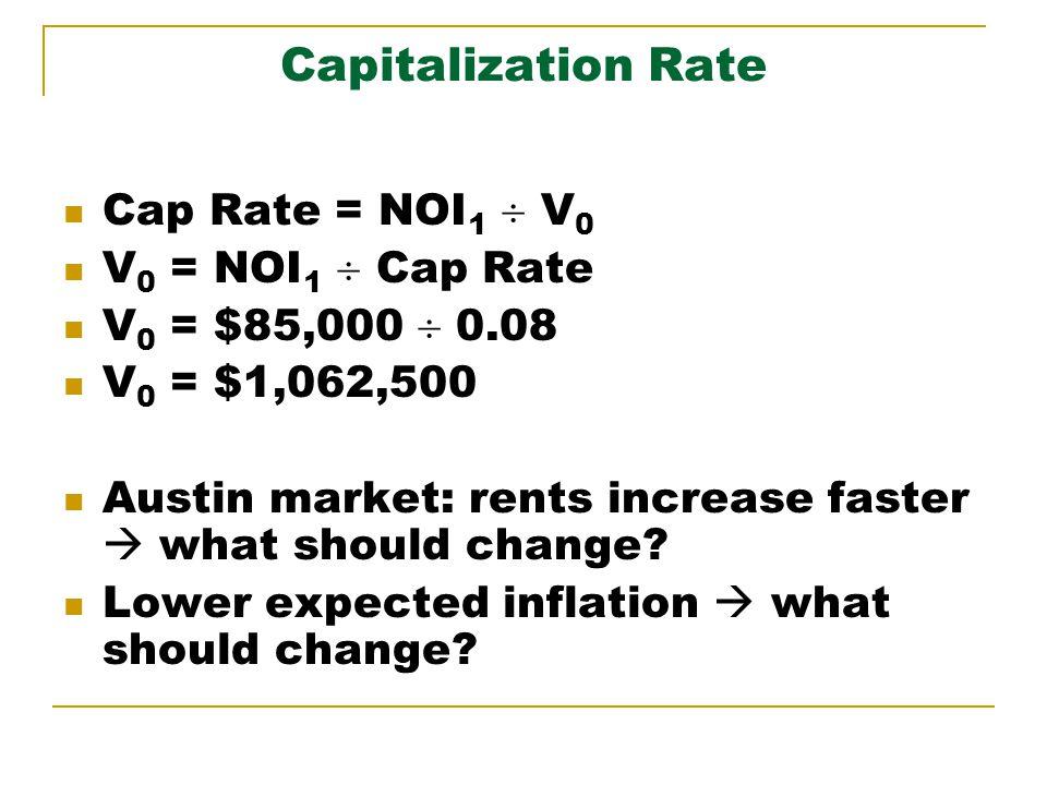 Capitalization Rate Cap Rate = NOI 1 V 0 V 0 = NOI 1 Cap Rate V 0 = $85,000 0.08 V 0 = $1,062,500 Austin market: rents increase faster what should cha