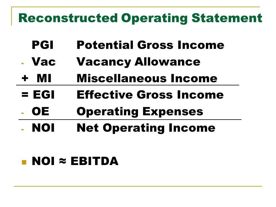 Reconstructed Operating Statement PGIPotential Gross Income - VacVacancy Allowance + MIMiscellaneous Income = EGIEffective Gross Income - OEOperating Expenses - NOINet Operating Income NOI EBITDA