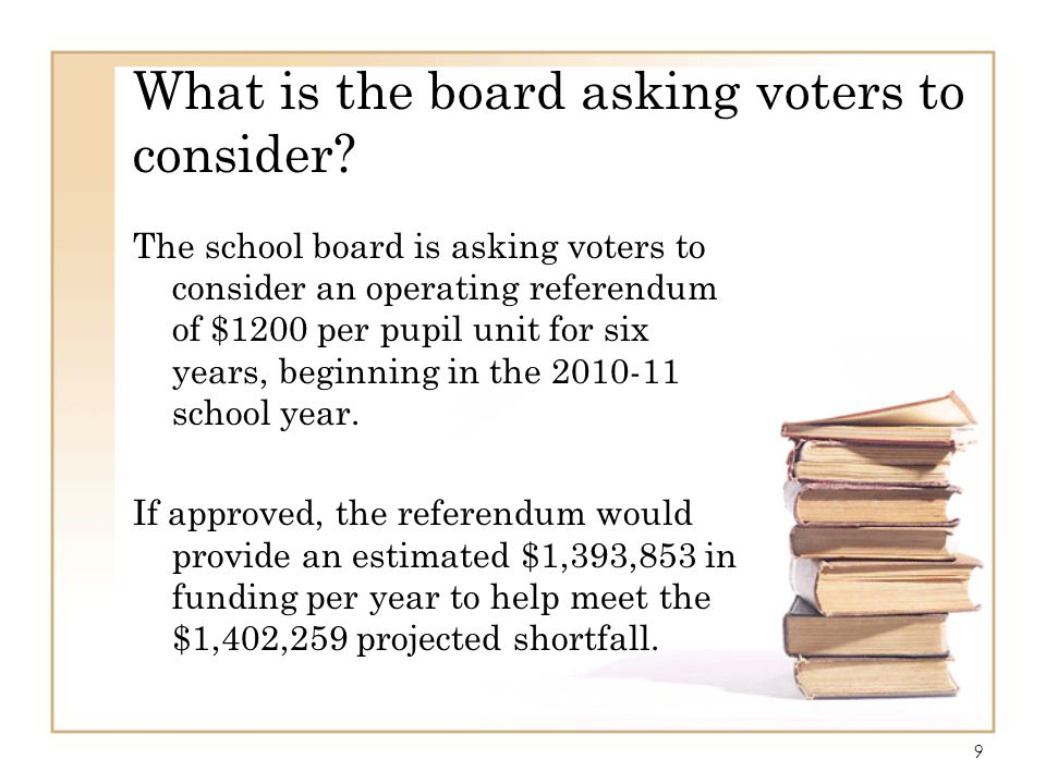 9 What is the board asking voters to consider? The school board is asking voters to consider an operating referendum of $1200 per pupil unit for six y
