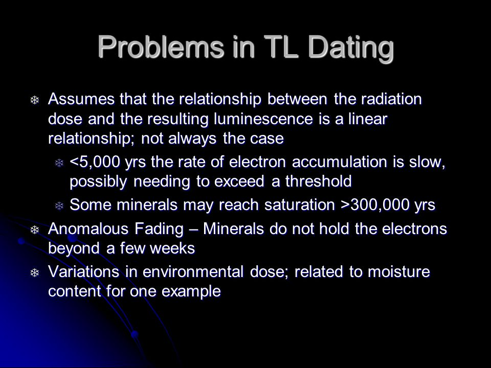 Problems in TL Dating Assumes that the relationship between the radiation dose and the resulting luminescence is a linear relationship; not always the case Assumes that the relationship between the radiation dose and the resulting luminescence is a linear relationship; not always the case <5,000 yrs the rate of electron accumulation is slow, possibly needing to exceed a threshold <5,000 yrs the rate of electron accumulation is slow, possibly needing to exceed a threshold Some minerals may reach saturation >300,000 yrs Some minerals may reach saturation >300,000 yrs Anomalous Fading – Minerals do not hold the electrons beyond a few weeks Anomalous Fading – Minerals do not hold the electrons beyond a few weeks Variations in environmental dose; related to moisture content for one example Variations in environmental dose; related to moisture content for one example