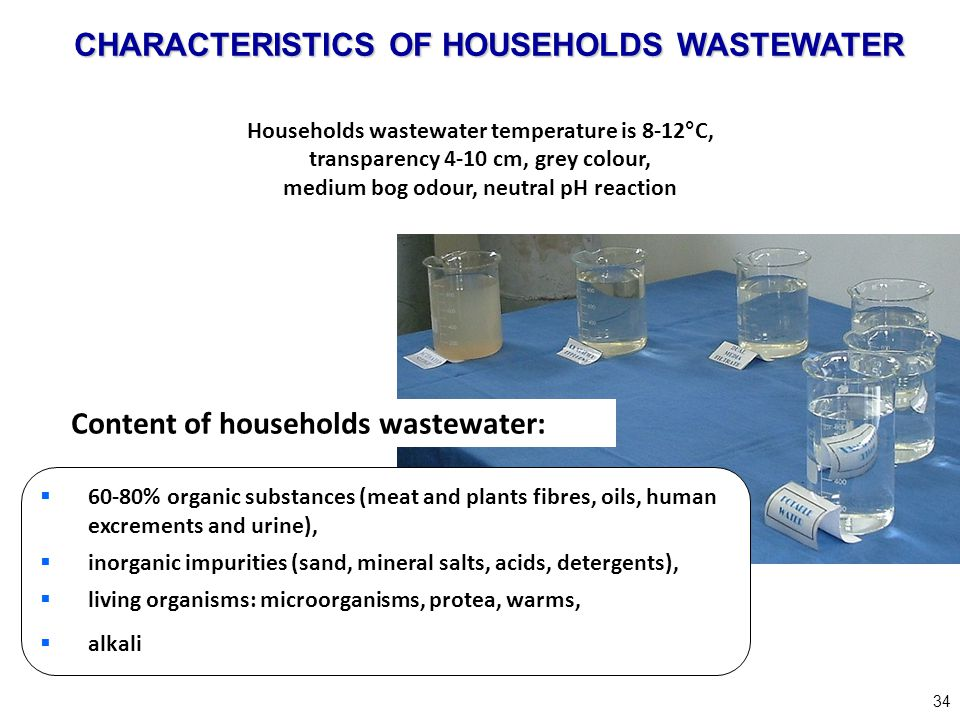 34 Households wastewater temperature is 8-12°C, transparency 4-10 cm, grey colour, medium bog odour, neutral pH reaction Content of households wastewa
