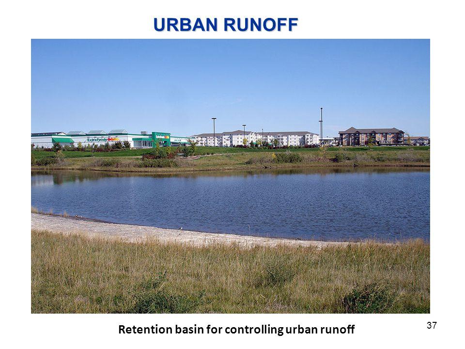 URBAN RUNOFF Retention basin for controlling urban runoff 37