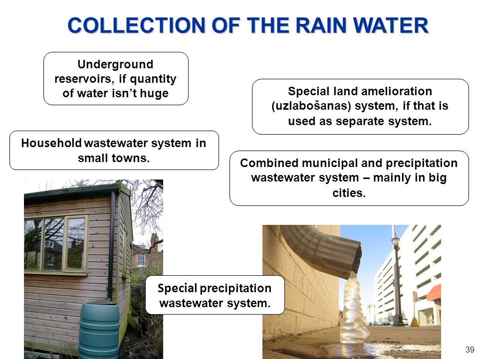 39 Special precipitation wastewater system. Combined municipal and precipitation wastewater system – mainly in big cities. Household wastewater system