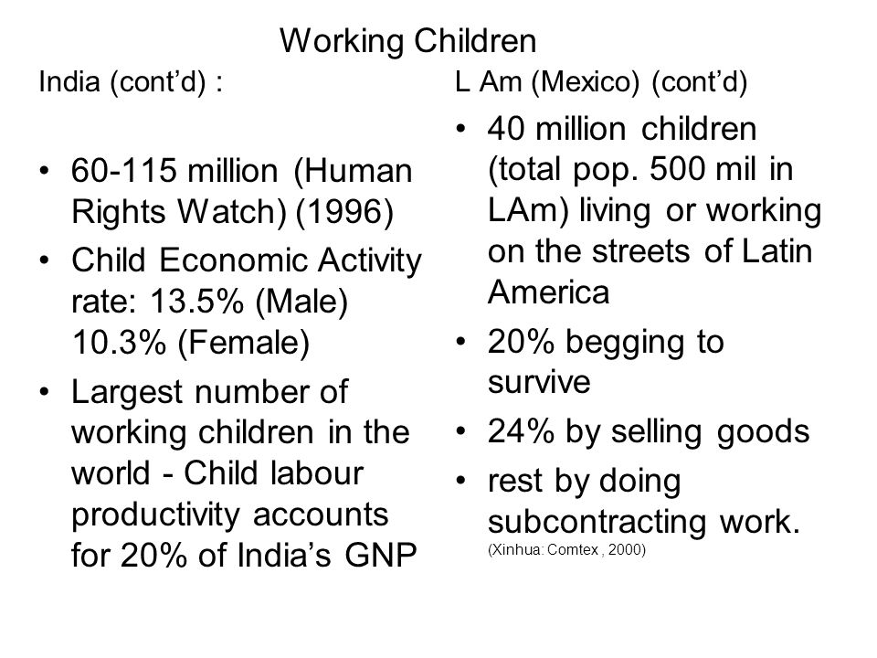 India (contd) : 60-115 million (Human Rights Watch) (1996) Child Economic Activity rate: 13.5% (Male) 10.3% (Female) Largest number of working childre