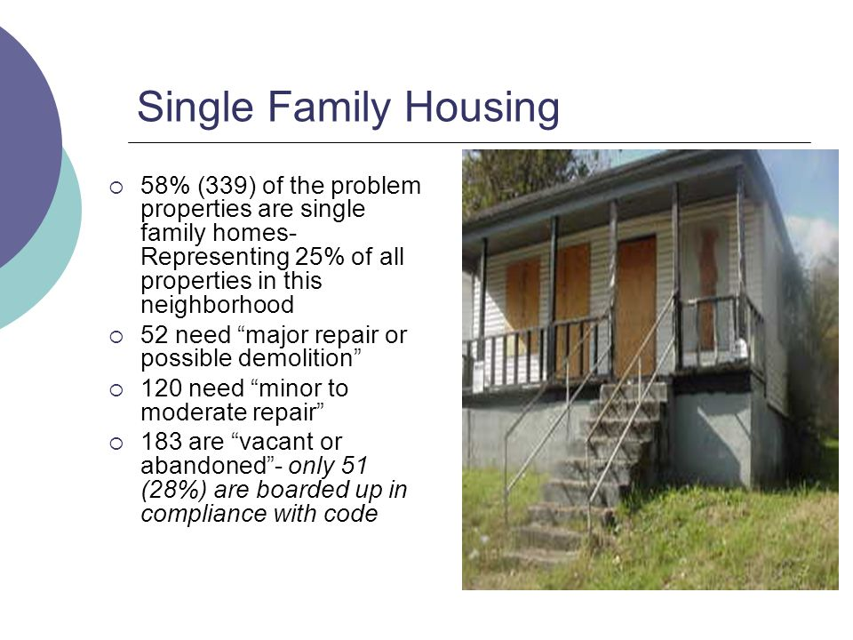 Single Family Housing 58% (339) of the problem properties are single family homes- Representing 25% of all properties in this neighborhood 52 need major repair or possible demolition 120 need minor to moderate repair 183 are vacant or abandoned- only 51 (28%) are boarded up in compliance with code