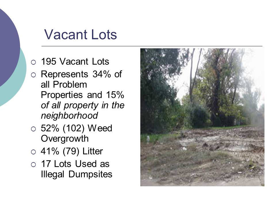 Vacant Lots 195 Vacant Lots Represents 34% of all Problem Properties and 15% of all property in the neighborhood 52% (102) Weed Overgrowth 41% (79) Litter 17 Lots Used as Illegal Dumpsites