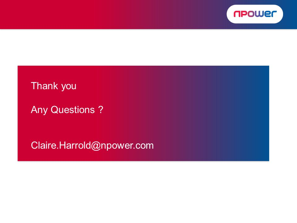 Thank you Any Questions Claire.Harrold@npower.com