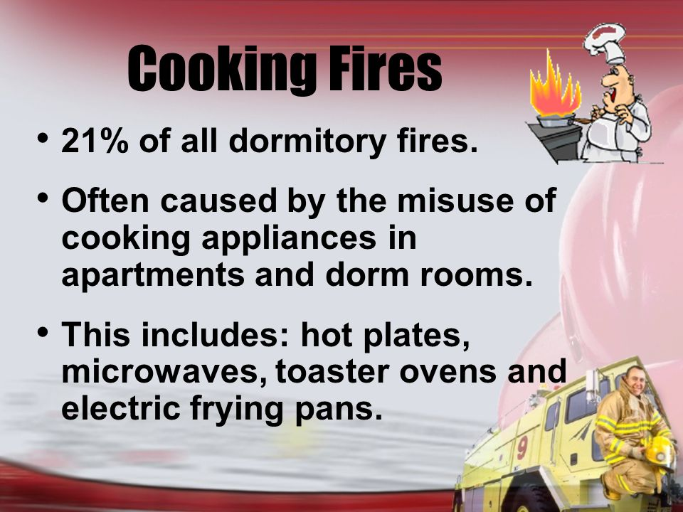 Cooking Fires 21% of all dormitory fires.