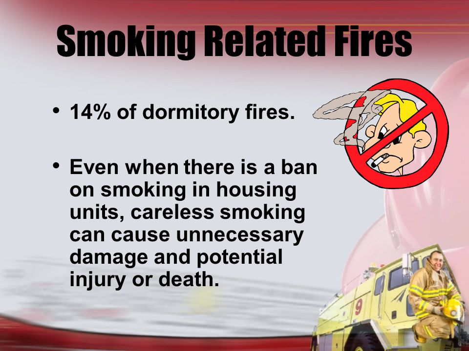 Smoking Related Fires 14% of dormitory fires.