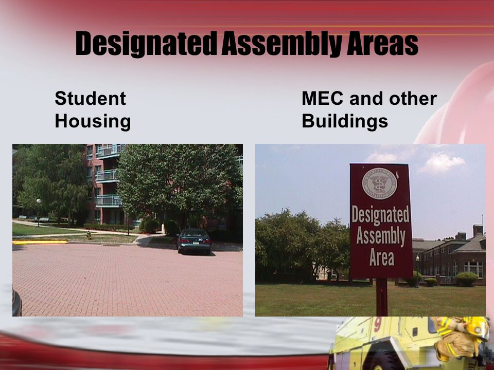 Designated Assembly Areas Student MEC and other HousingBuildings