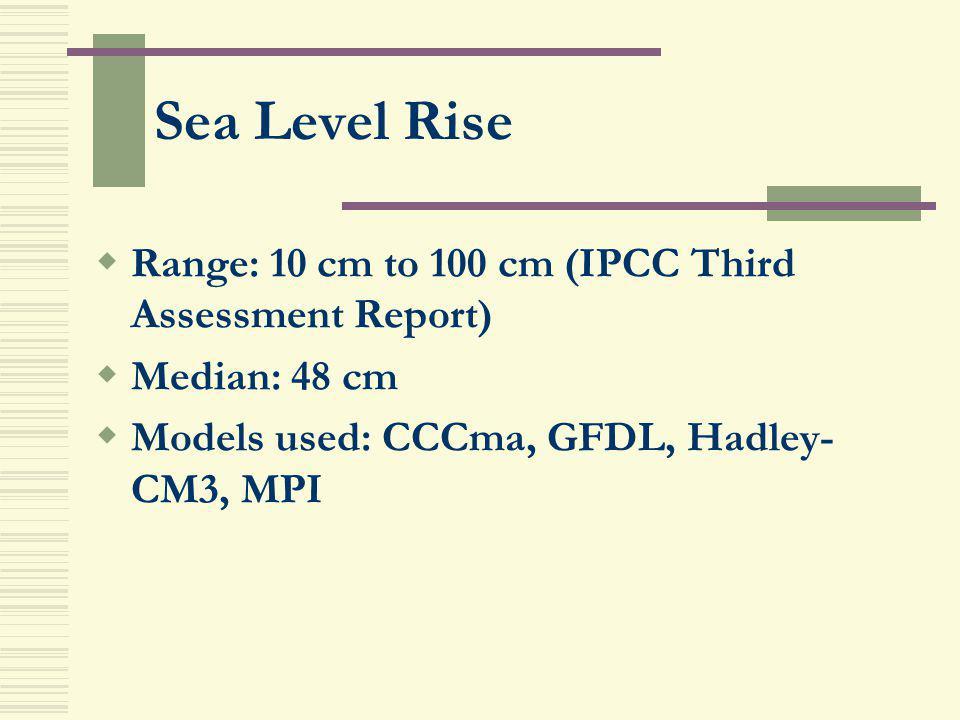 Sea Level Rise Range: 10 cm to 100 cm (IPCC Third Assessment Report) Median: 48 cm Models used: CCCma, GFDL, Hadley- CM3, MPI