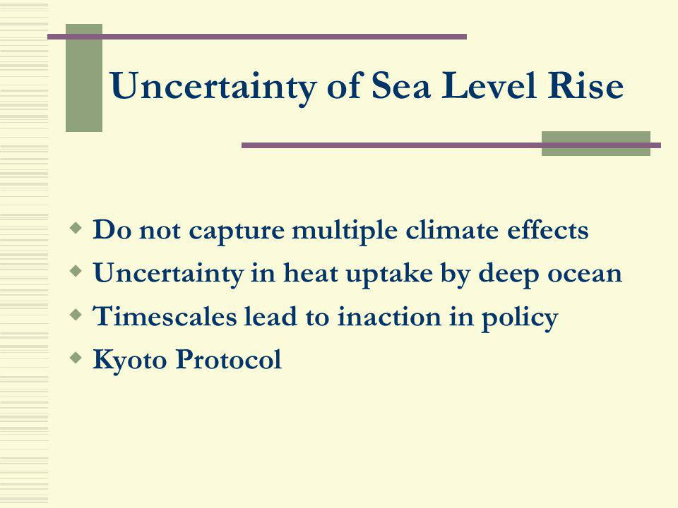Uncertainty of Sea Level Rise Do not capture multiple climate effects Uncertainty in heat uptake by deep ocean Timescales lead to inaction in policy K