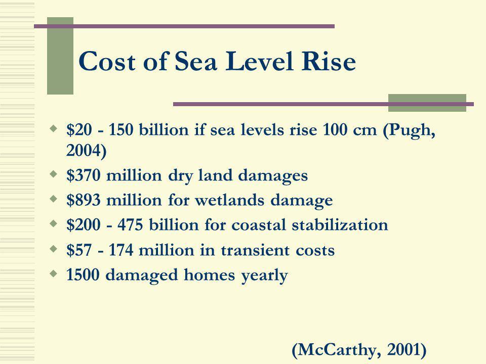 Cost of Sea Level Rise $20 - 150 billion if sea levels rise 100 cm (Pugh, 2004) $370 million dry land damages $893 million for wetlands damage $200 -