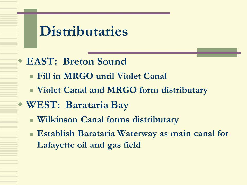 Distributaries EAST: Breton Sound Fill in MRGO until Violet Canal Violet Canal and MRGO form distributary WEST: Barataria Bay Wilkinson Canal forms di