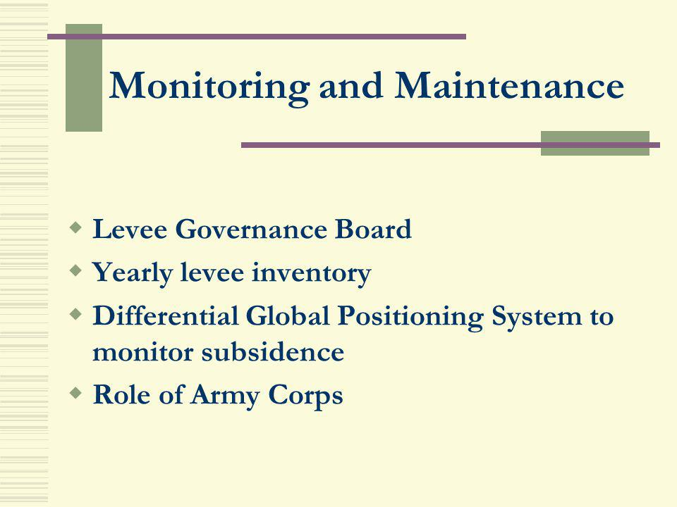 Monitoring and Maintenance Levee Governance Board Yearly levee inventory Differential Global Positioning System to monitor subsidence Role of Army Cor