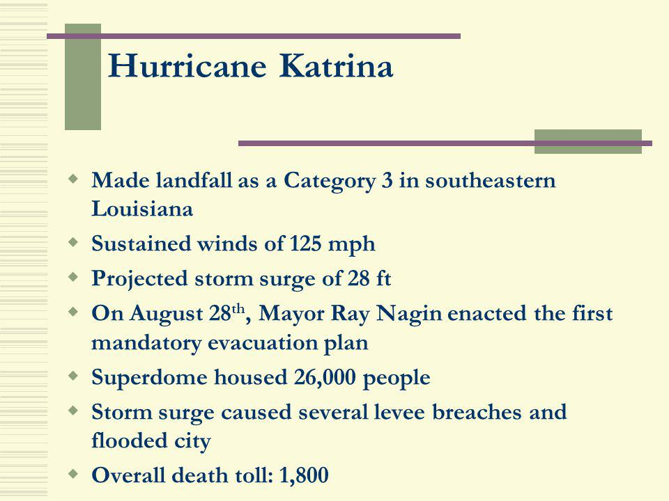 Hurricane Katrina Made landfall as a Category 3 in southeastern Louisiana Sustained winds of 125 mph Projected storm surge of 28 ft On August 28 th, M