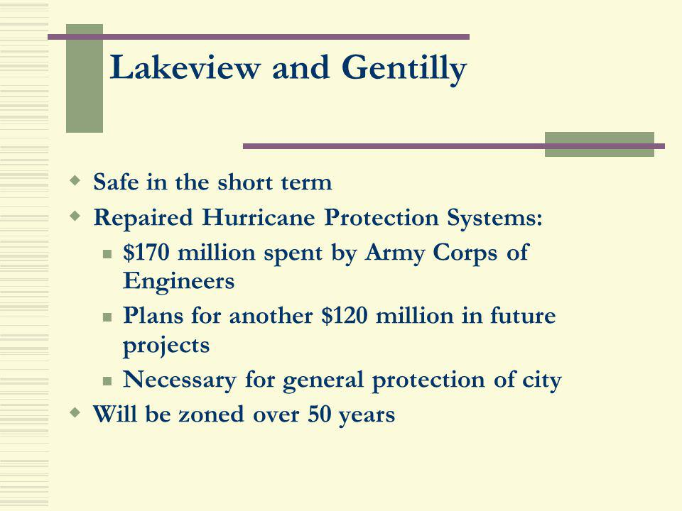 Lakeview and Gentilly Safe in the short term Repaired Hurricane Protection Systems: $170 million spent by Army Corps of Engineers Plans for another $1