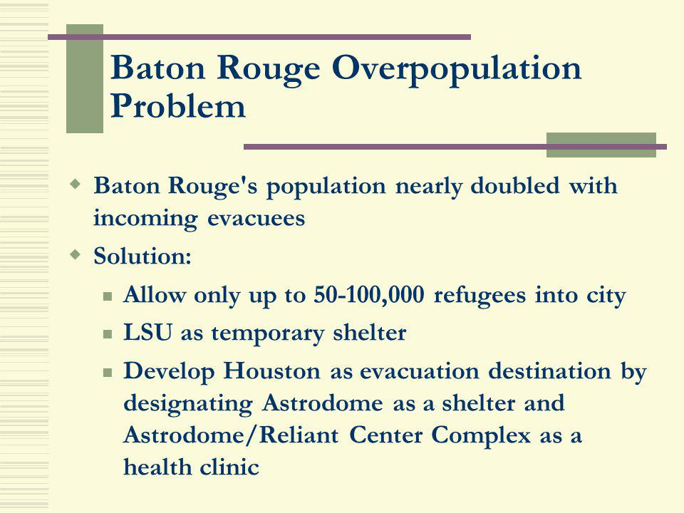 Baton Rouge Overpopulation Problem Baton Rouge's population nearly doubled with incoming evacuees Solution: Allow only up to 50-100,000 refugees into