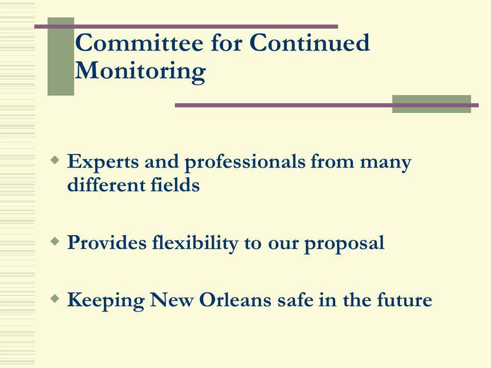 Committee for Continued Monitoring Experts and professionals from many different fields Provides flexibility to our proposal Keeping New Orleans safe
