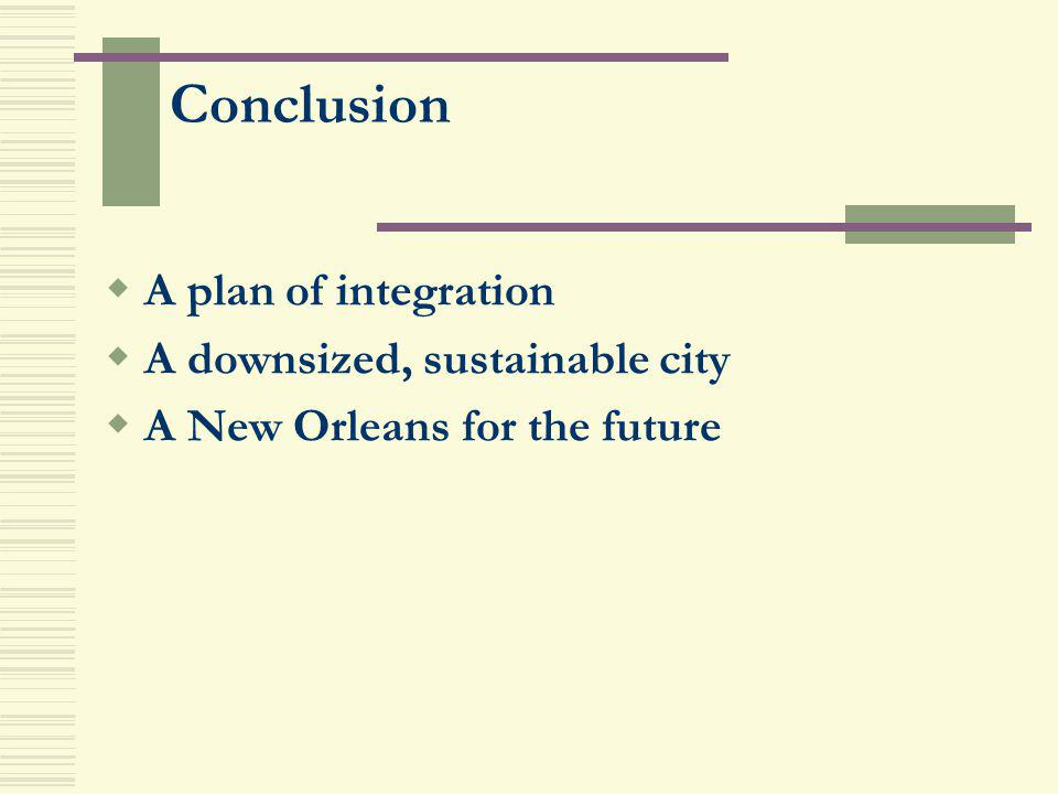 A plan of integration A downsized, sustainable city A New Orleans for the future