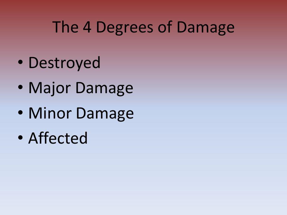 The 4 Degrees of Damage Destroyed Major Damage Minor Damage Affected