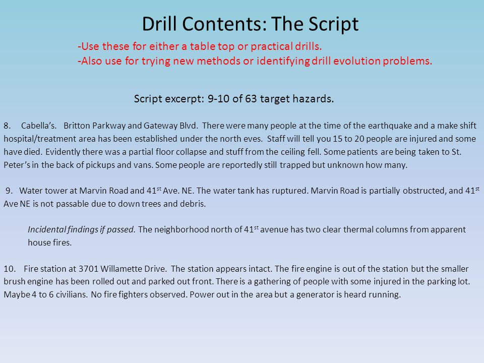 Drill Contents: The Script -Use these for either a table top or practical drills. -Also use for trying new methods or identifying drill evolution prob