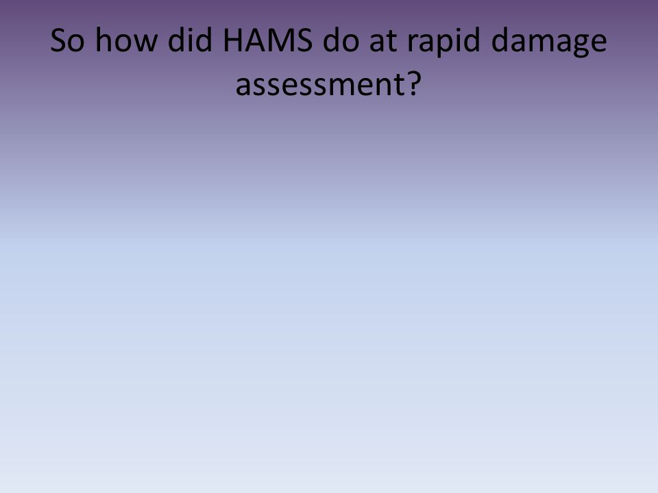 So how did HAMS do at rapid damage assessment?