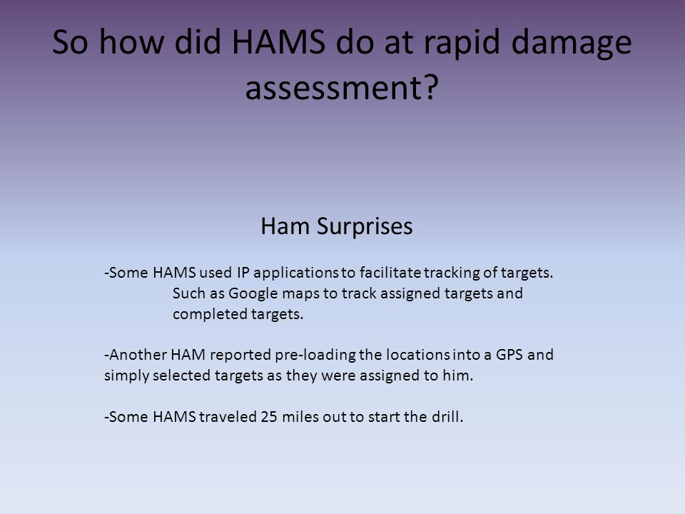 So how did HAMS do at rapid damage assessment? Ham Surprises -Some HAMS used IP applications to facilitate tracking of targets. Such as Google maps to