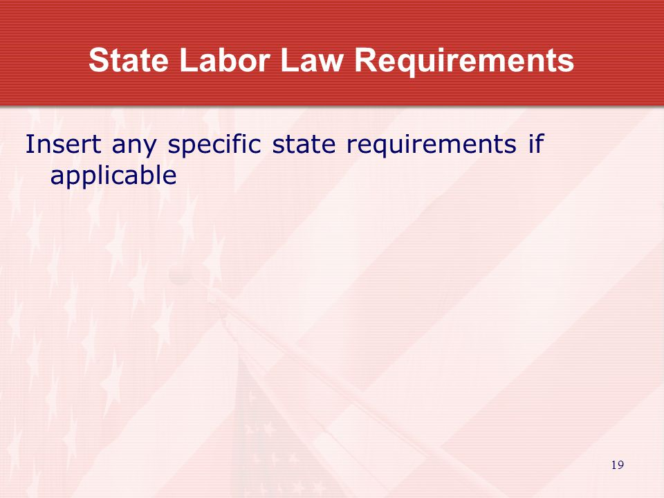 19 State Labor Law Requirements Insert any specific state requirements if applicable
