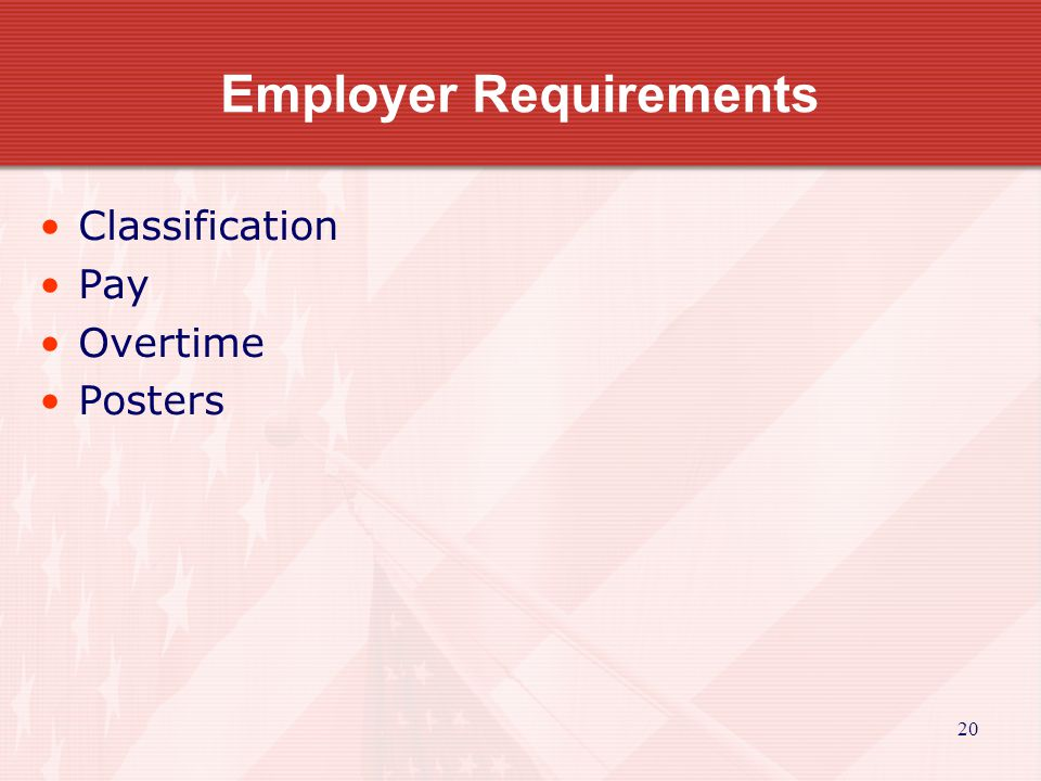 20 Employer Requirements Classification Pay Overtime Posters