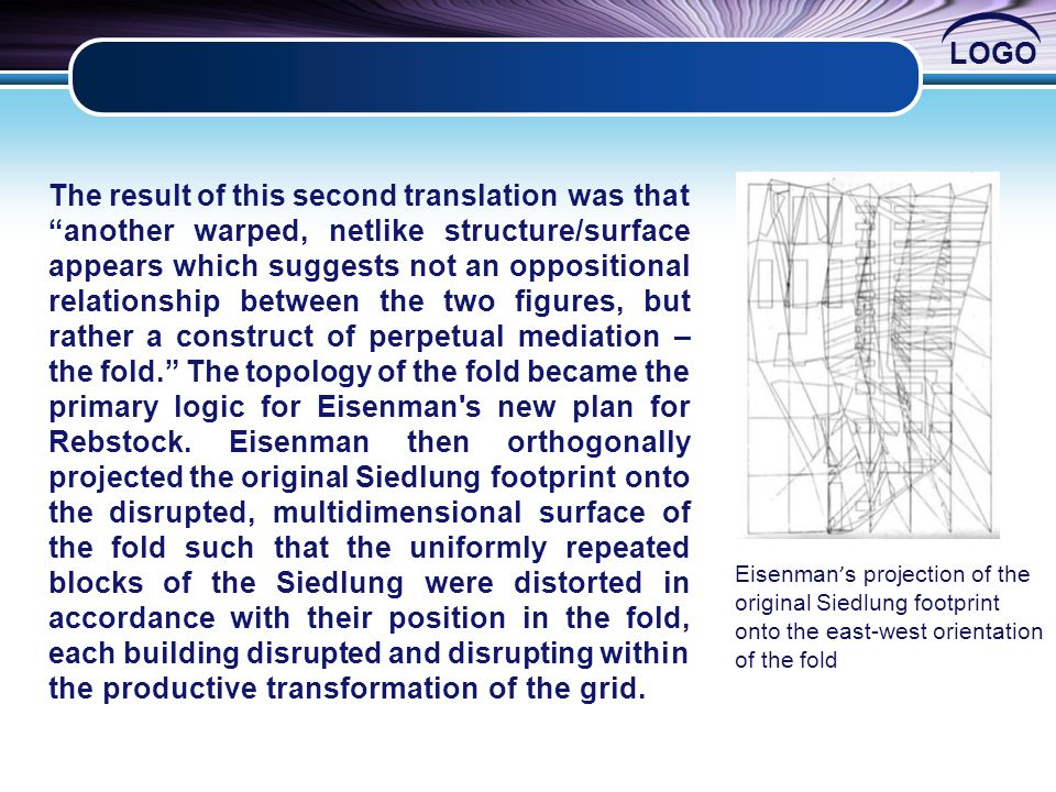 LOGO The result of this second translation was that another warped, netlike structure/surface appears which suggests not an oppositional relationship