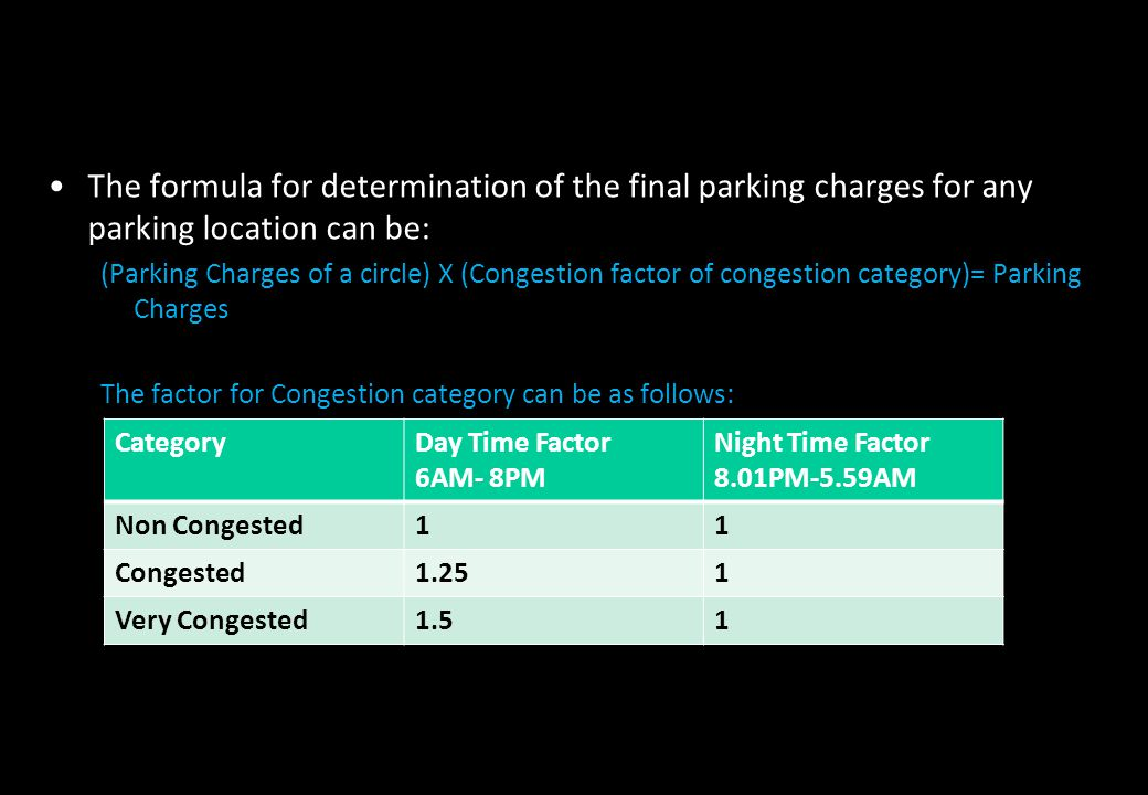 The formula for determination of the final parking charges for any parking location can be: (Parking Charges of a circle) X (Congestion factor of cong