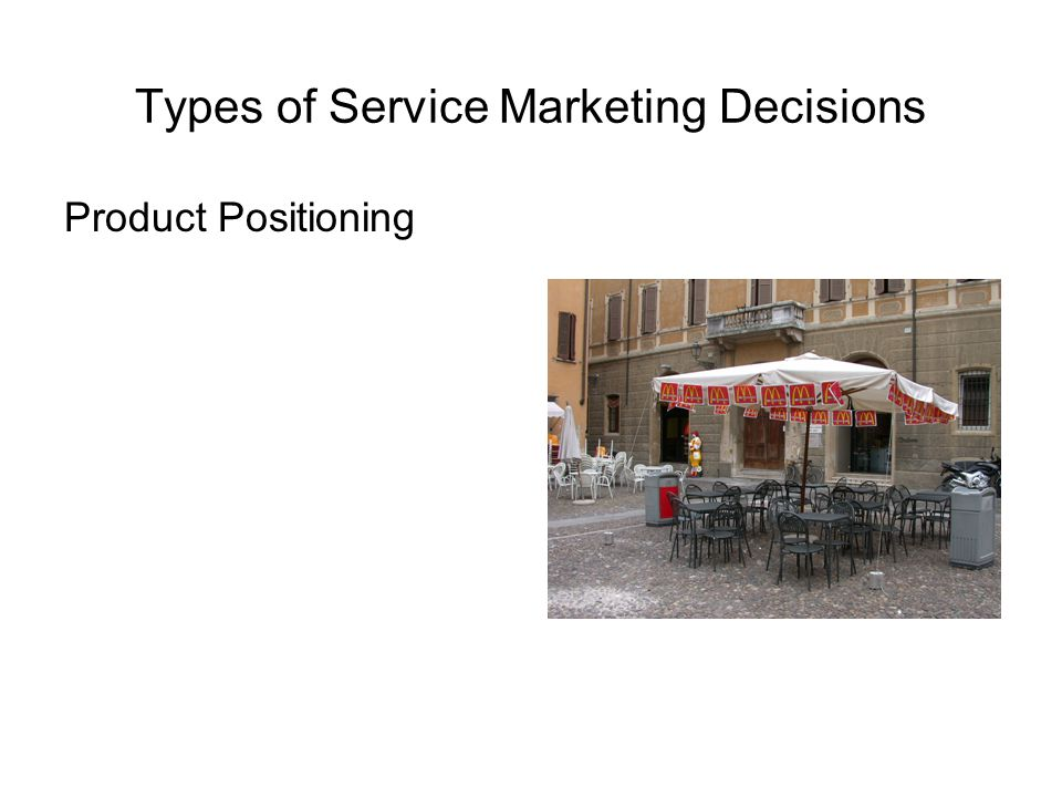 Types of Service Marketing Decisions Product Positioning