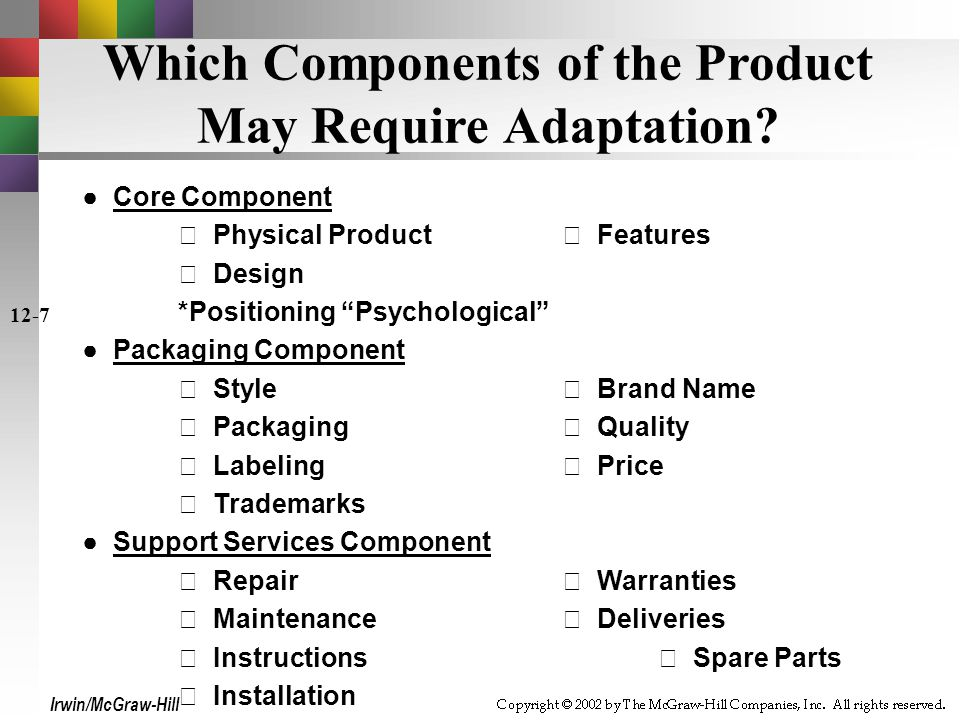 Which Components of the Product May Require Adaptation.