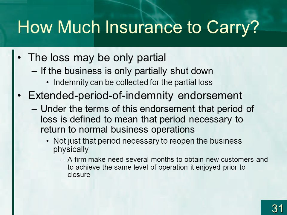 31 How Much Insurance to Carry? The loss may be only partial –If the business is only partially shut down Indemnity can be collected for the partial l