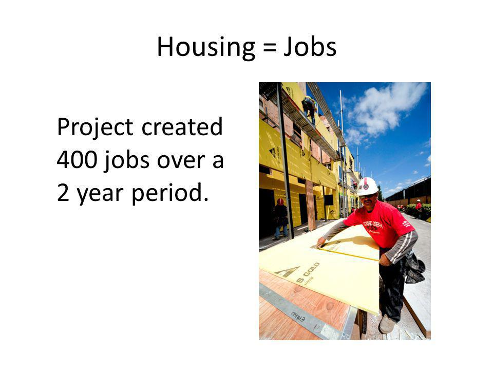 Housing = Jobs Project created 400 jobs over a 2 year period.