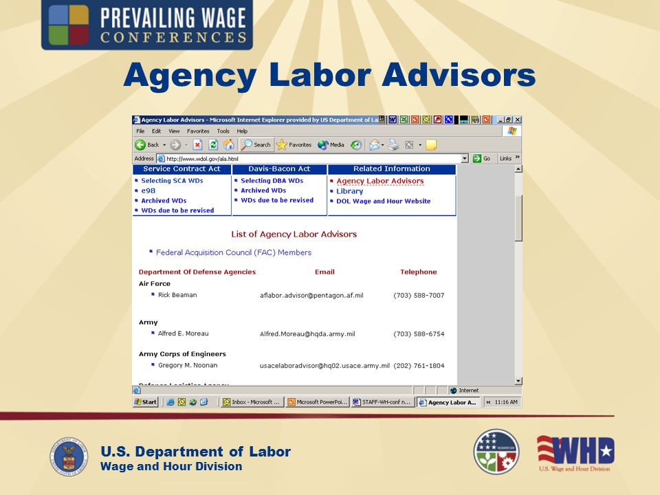 U.S. Department of Labor Wage and Hour Division Agency Labor Advisors