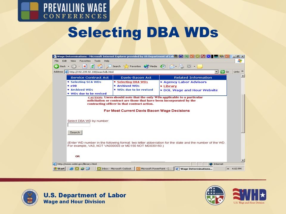 U.S. Department of Labor Wage and Hour Division Selecting DBA WDs
