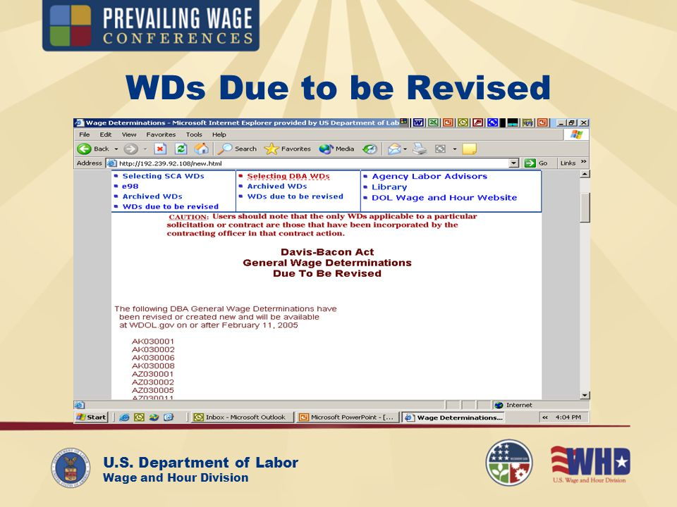 U.S. Department of Labor Wage and Hour Division WDs Due to be Revised