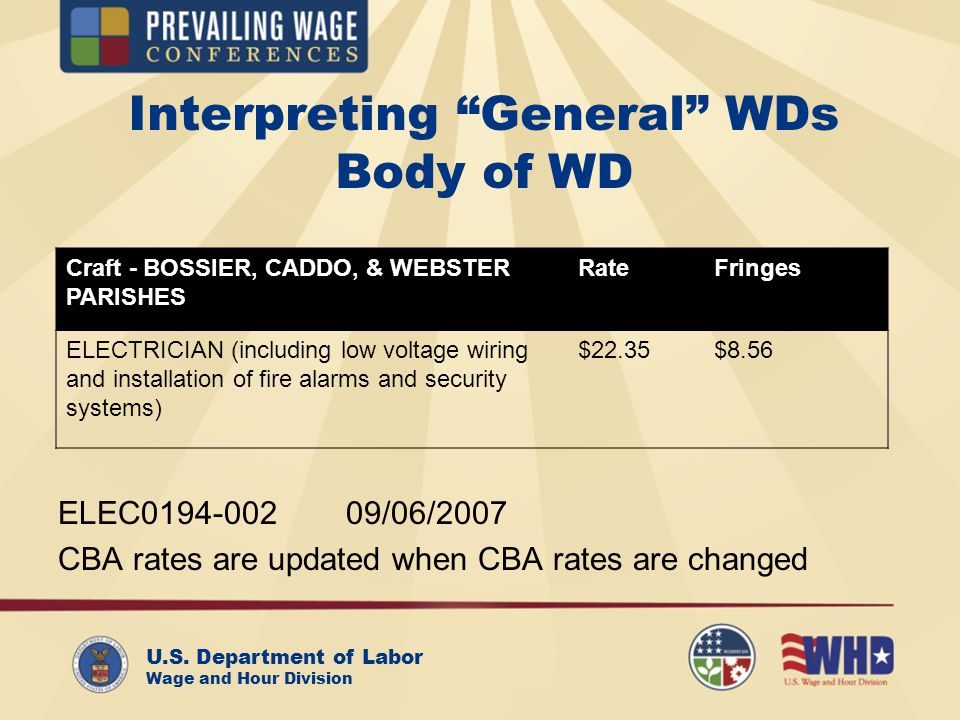 U.S. Department of Labor Wage and Hour Division Interpreting General WDs Body of WD Craft - BOSSIER, CADDO, & WEBSTER PARISHES RateFringes ELECTRICIAN