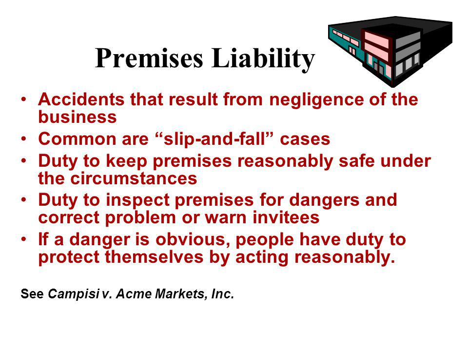Torts Against Property Owners Is a person harmed on the property a trespasser or an invitee? Customers are invitees, not trespassers. What duty of car
