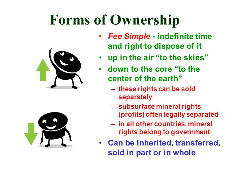 Forms of Ownership Fee Simple - indefinite time and right to dispose of it up in the air to the skies down to the core to the center of the earth –these rights can be sold separately –subsurface mineral rights (profits) often legally separated –in all other countries, mineral rights belong to government Can be inherited, transferred, sold in part or in whole