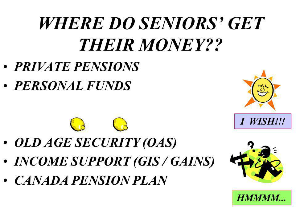 WHERE DO SENIORS GET THEIR MONEY .