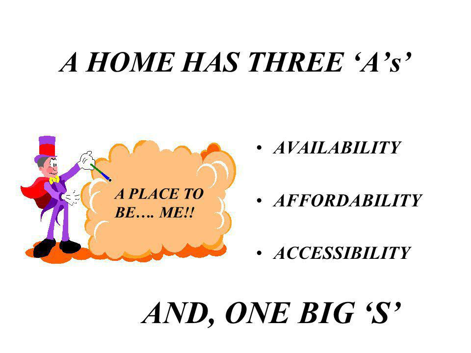 A HOME HAS THREE As AVAILABILITY AFFORDABILITY ACCESSIBILITY A PLACE TO BE…. ME!! AND, ONE BIG S