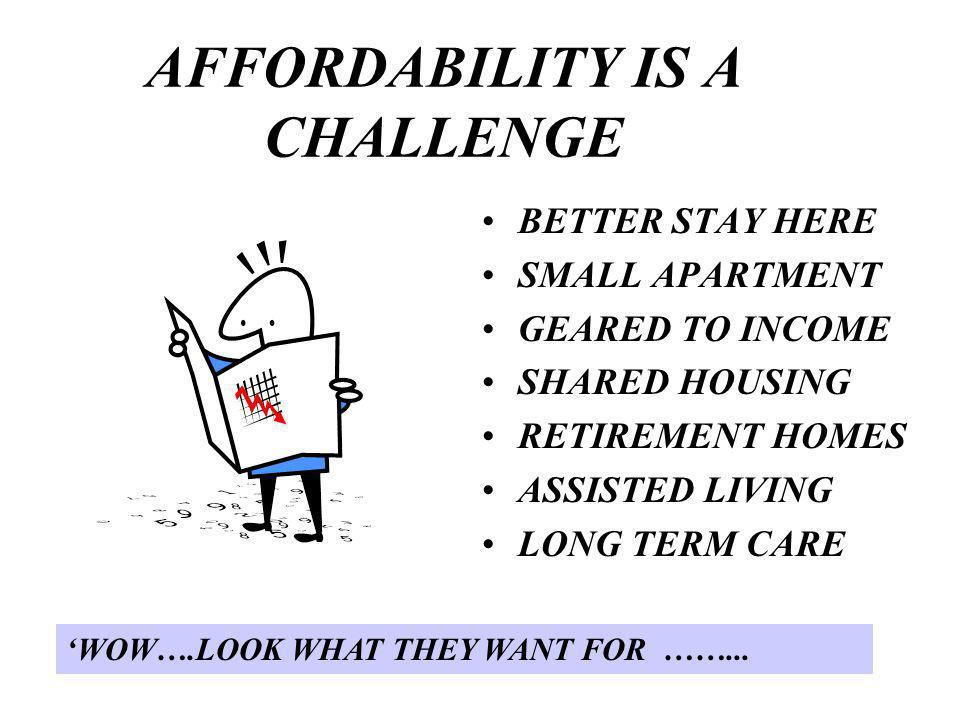 AFFORDABILITY IS A CHALLENGE BETTER STAY HERE SMALL APARTMENT GEARED TO INCOME SHARED HOUSING RETIREMENT HOMES ASSISTED LIVING LONG TERM CARE WOW….LOOK WHAT THEY WANT FOR ……...
